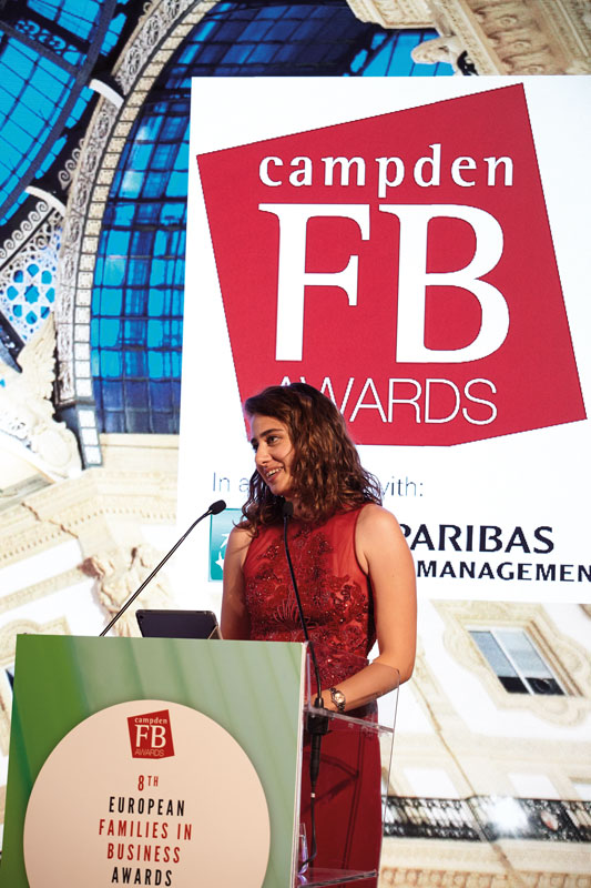 Selin Yigitbasi-Ducker, fourth generation member of Yasar Holdings and founder of Goodsted, at Campden's European Families in Business Awards in Milan